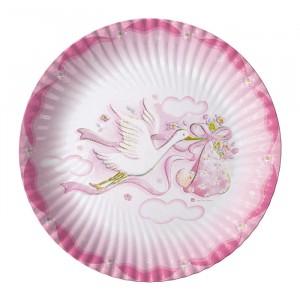 10 Piatti Ø 24 cm Cicogna Rosa