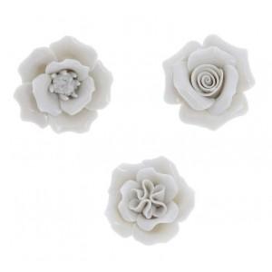 Fiori 3 Assortiti Porcellana Diam 4.5 cm Tortora