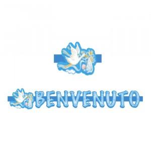 Banner in 3D 100 x 18 cm Cicogna Celeste
