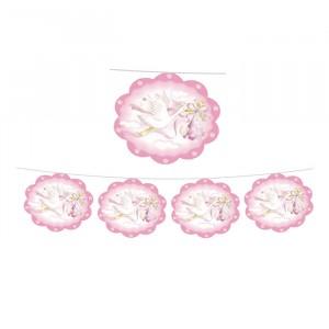 Festone Nuvolette 400 x 20 cm Cicogna Rosa