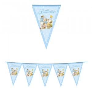 Festone Bandierine in plastica 600 x 25 cm Battesimo Baby Bears Celeste