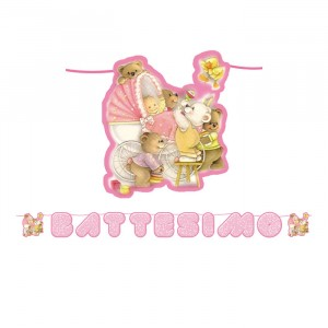 Kit Scritta Maxi 600 x 25 cm Battesimo Baby Bears Rosa