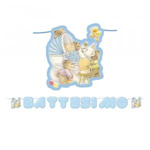 Kit Scritta Maxi 600 x 25 cm Battesimo Baby Bears Celeste