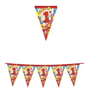 Festone Bandierine in plastica 600 x 25 cm Buon 1°Compleanno