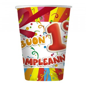 10 Bicchieri 200 cc Buon Primo Compleanno