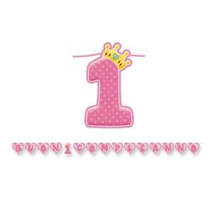 Kit Scritta Maxi 600 x 25 cm 1°Compleanno Rosa