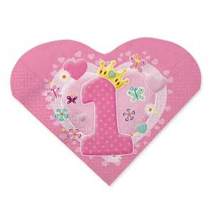 20 Tovaglioli 33 x 33 cm Primo Compleanno Rosa