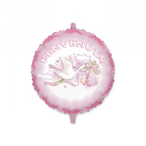 "Palloncino Mylar 18"" Cicogna Rosa"