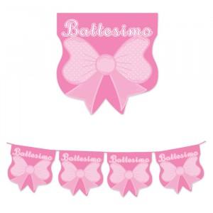 Festone Bandierine in plastica 600 x 25 cm Battesimo Baby Rosa