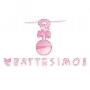 Kit Scritta Maxi 600 x 25 cm Il Mio Battesimo Rosa