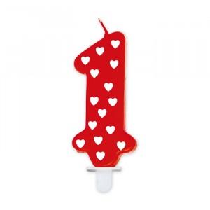 Candelina Rossa con Cuoricini 8 cm Numero 1