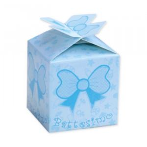 25 Scatoline portaconfetti Cubetto con Fiocco in carta 5 x 7 x 5 cm
