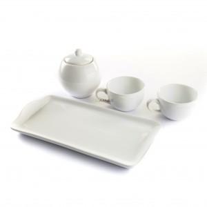 Set Caffè in Ceramica 26x13 Bianco