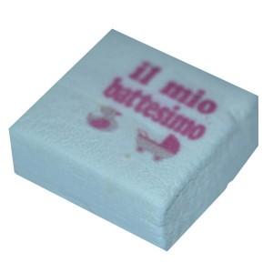 Marshmallow Quadratino Battesimo Rosa 20 Pz.