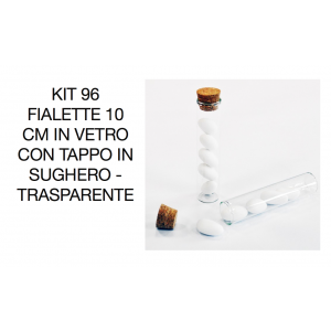 Kit 96 Fialette 10 cm in vetro con tappo in Sughero - Trasparente