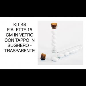 Kit 48 Fialette 15 cm in vetro con tappo in Sughero - Trasparente