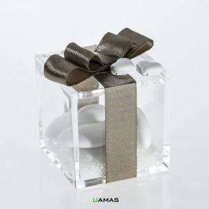 Scatolina Plexiglass Confezionata Con Cuori In Gesso