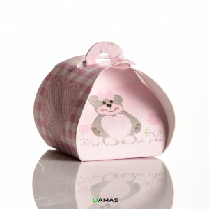 Tortina 40xa40x35 mm Cartoncino Teddy Bear Rosa