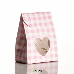 Sacchetto 60x35x80mm con Finestra a Cuore Teddy Bear Rosa