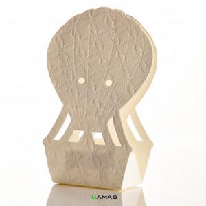 Scatola in Cartoncino a Forma di Mongolfiera Matelassè Bianco 60x40x145mm