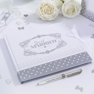 Guest Book Shabby Chic Bianco e Argento
