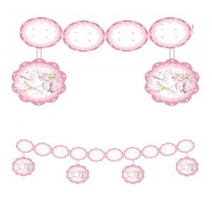 Festone in carta con Pendenti 280 x 30 cm Cicogna Rosa