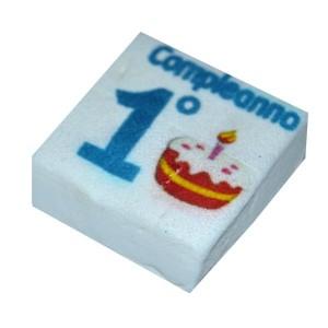 Marshmallow Quadratino 1° Compleanno Azzurro 20 Pz.