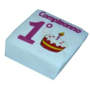 Marshmallow Quadratino 1° Compleanno Rosa 20 Pz.