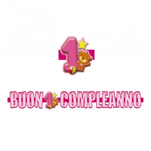 Banner in 3D 100 x 18 cm 1°Compleanno Toys Rosa