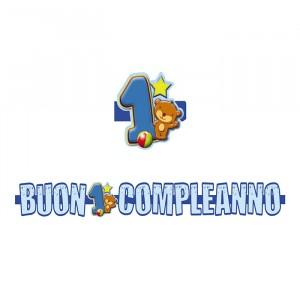 Banner in 3D 100 x 18 cm 1°Compleanno Toys Celeste
