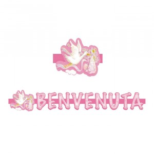 Banner in 3D 100 x 18 cm Cicogna Rosa