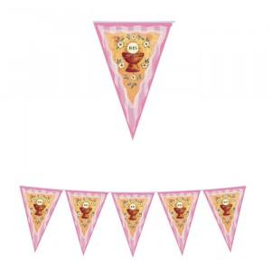 Festone Bandierine in plastica 600 x 25 cm Prima Comunione Spring Rosa