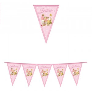 Festone Bandierine in plastica 600 x 25 cm Battesimo Baby Bears Rosa