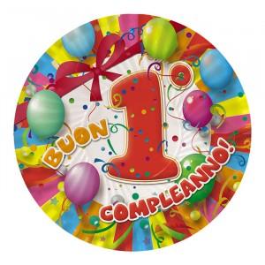 10 Piatti Ø 24 cm Buon Primo Compleanno