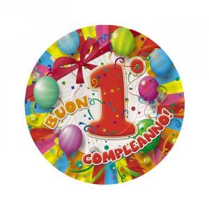 10 Piatti Ø 18 cm Buon Primo Compleanno