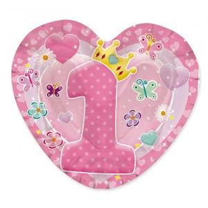 10 Piatti 20 x 20 cm Primo Compleanno Rosa