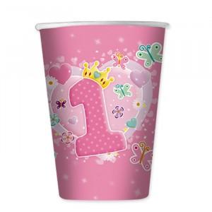 10 Bicchieri 200 cc Primo Compleanno Rosa