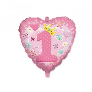 "Palloncino Mylar 18"" 1°Compleanno Rosa"
