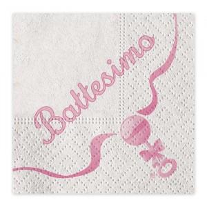 20 Tovaglioli 33 x 33 cm Il Mio Battesimo Rosa
