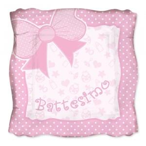 8 Piatti 24 x 24 cm Battesimo Baby Rosa