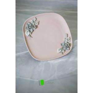 Piattino Quadrato Rosa Pastello con Rose in Capodimonte