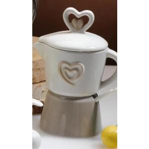 Caffettiera ceramica con cuore