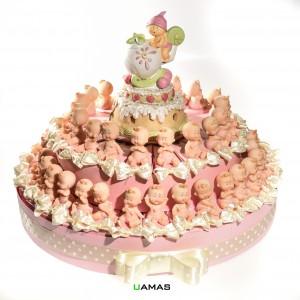 Torta Rosa con Bimbi Assortiti e Carillon