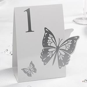 Segnatavolo Farfalla Bianca e Argento 1-12